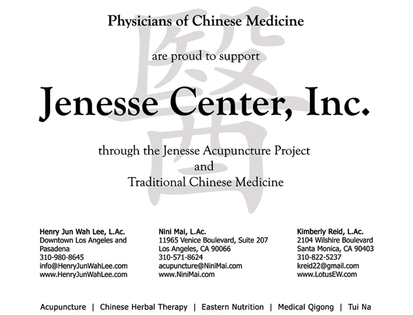 Physicians of Chinese Medicine are proud to support the Jenesse Center